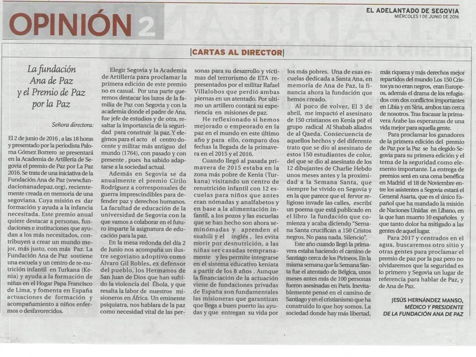 Presidente Fundacion en el Adelantado de Segovia 1jun2016
