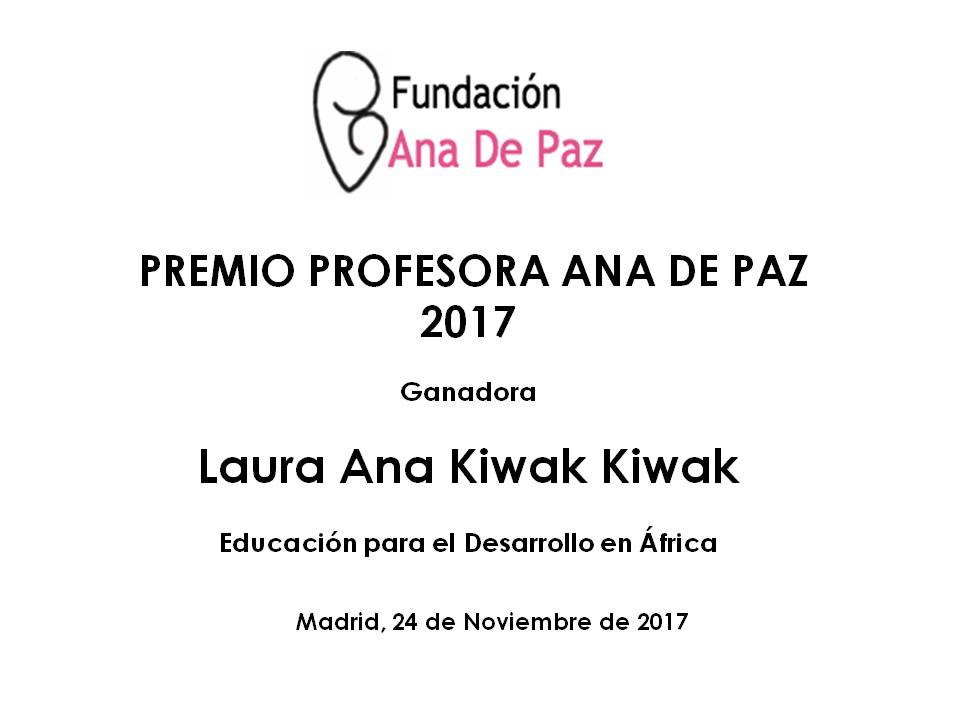 PREMIO PROFESORA ANA DE PAZ 2017