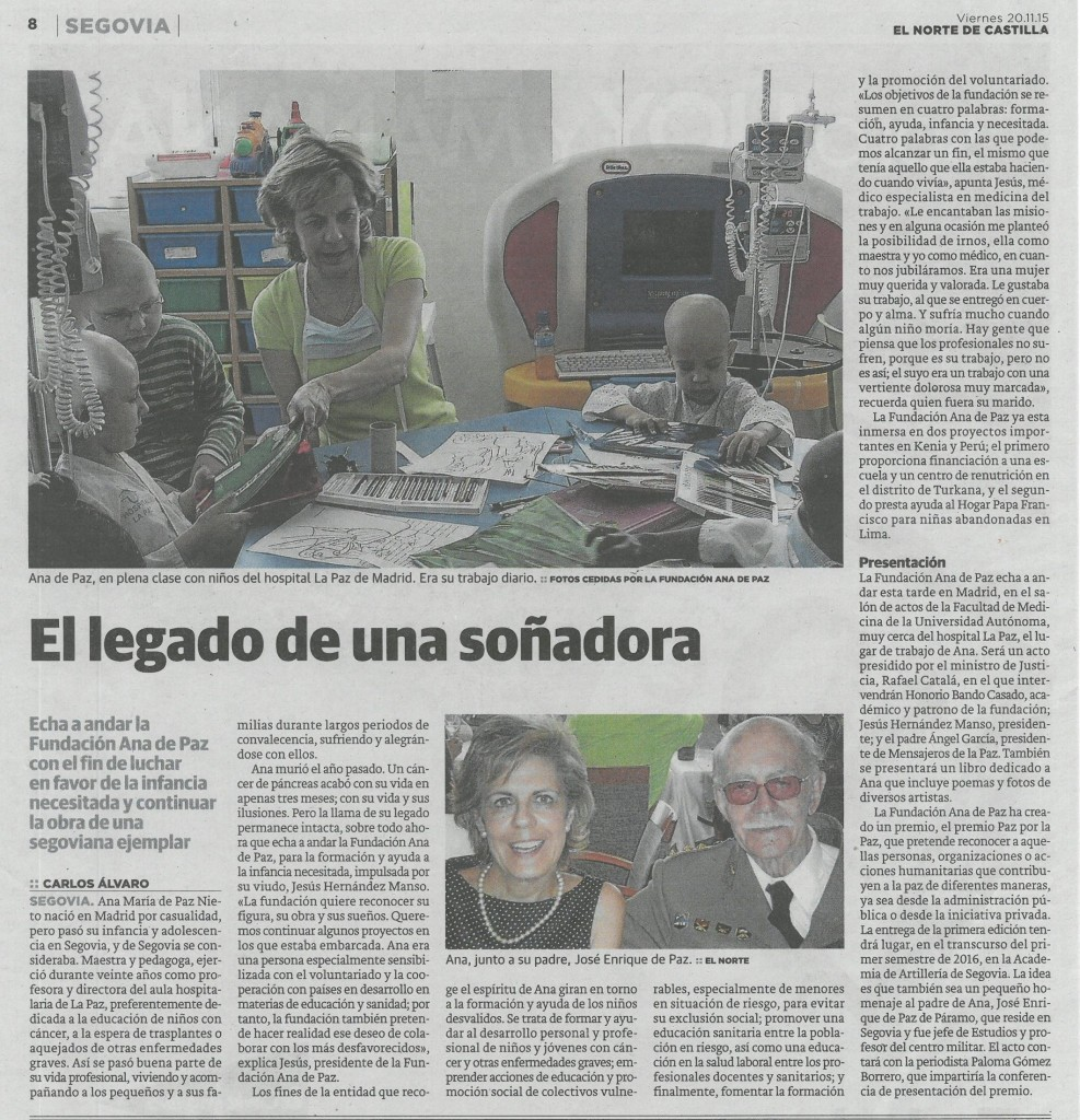 Artículo publicado en El Norte de Castilla el 20 de noviembre de 2015